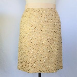 Kate Spade Gold Tweed Sequin Embroidered Skirt